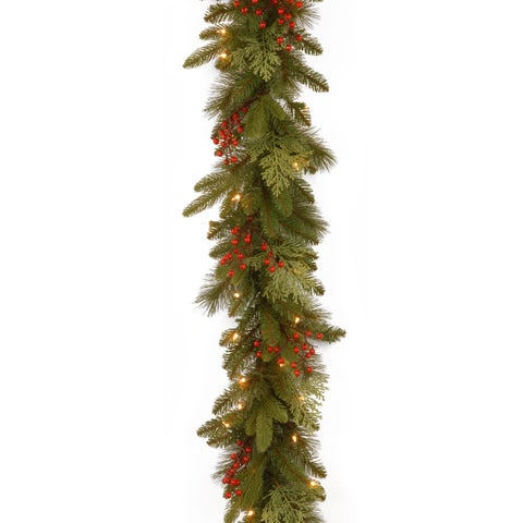Classical Collection Green/Red 9-foot Garland with Clear Lights