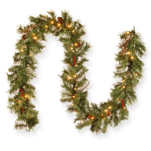 Glistening Pine 9-foot Garland with 50 Clear Lights. Opens flyout.
