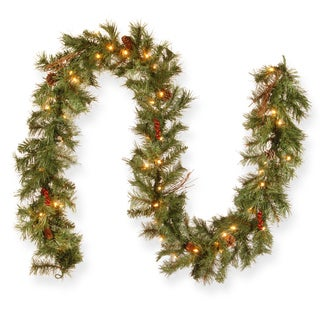 Glistening Pine 9-foot Garland with 50 Clear Lights