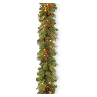 Cashmere Berry Collection 9-foot Garland with Clear Lights