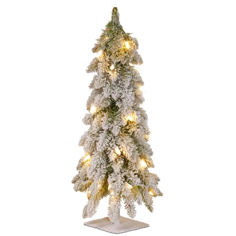 """National Tree Company 24"""" Christmas Snowy Downswept Forestree with Metal Plate and Clear Lights"""