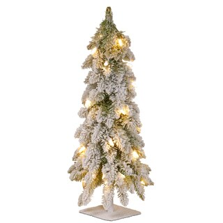 2-foot Snowy Downswept Forestree with Clear Lights