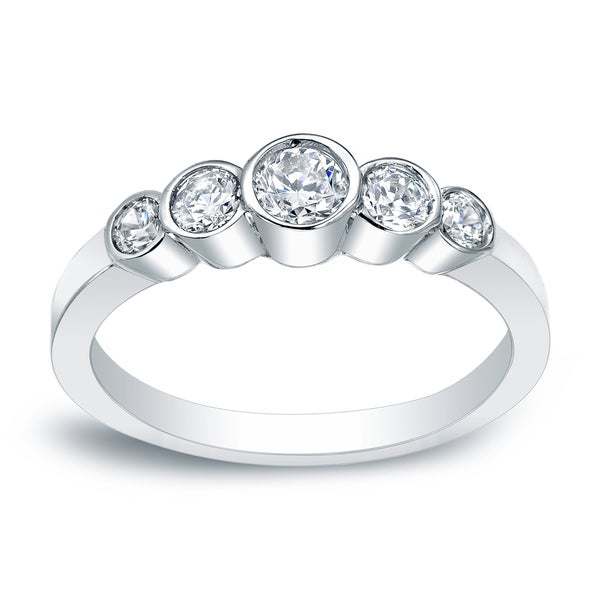 five dainty round stone diamond thin ring brilliant rings bezel media cut engagement set