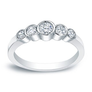 Auriya Platinum 1/2ct TDW Five-Stone Bezel Diamond Engagement Ring