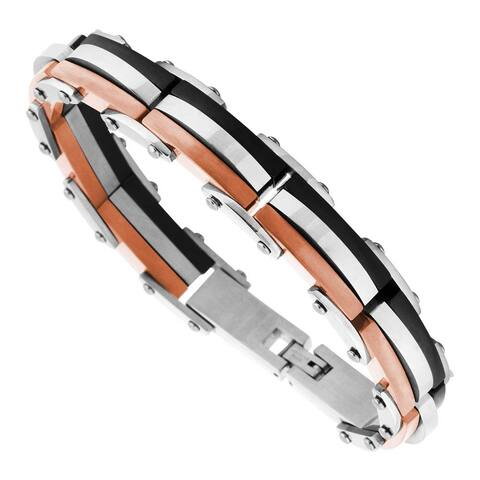 Men's Black and Rose Ion Plated Stainless Steel Bracelet