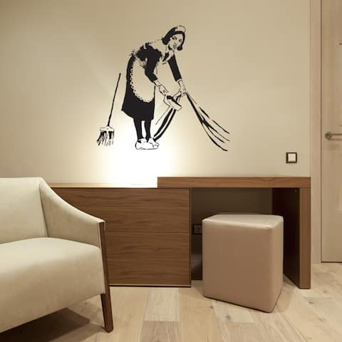 Banksy 'Lazy Maid' wall decal, sticker, mural vinyl art home decor