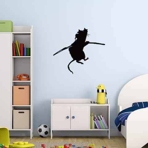 Bansky 'Acrobat Rat' wall decal, sticker, mural vinyl art home decor