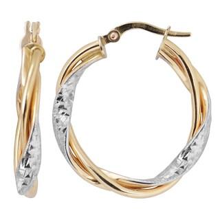 Fremada Italian 14k Two-tone Gold 3x200-mm Twisted Round Hoop Earrings