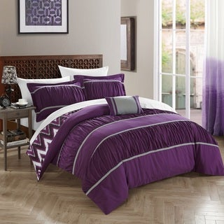 Chic Home 4-Piece Brooks Purple Comforter Set