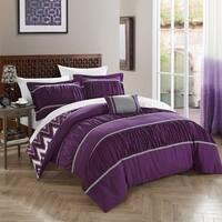 Chic Home 4-Piece Brooks Purple Comforter Set
