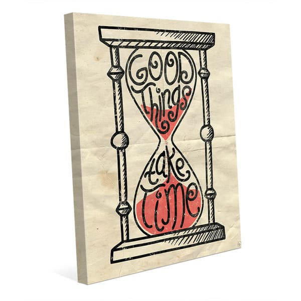 Good Things Hourglass Wall Art On Canvas Overstock 12832461