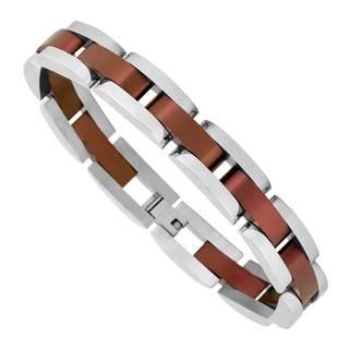 Mens Stainless Steel Brown -Plated Bracelet