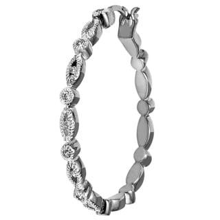 Women's Silvertone Brass Cubic Zirconia Hoop Earrings