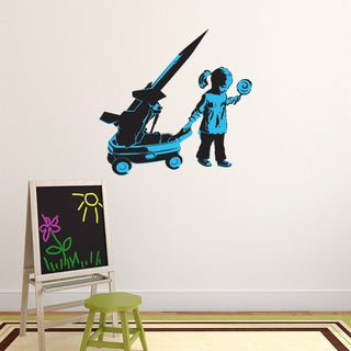 Girl and War Wagon Solid-colored Vinyl Wall Decal
