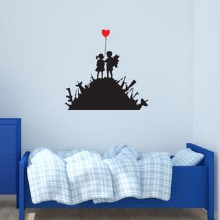 'Kids on Guns' Banksy Vinyl Wall Decal, Sticker, Mural Art Home Decor