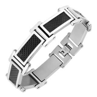 Men's Stainless Steel and Carbon Fiber Link Bracelet
