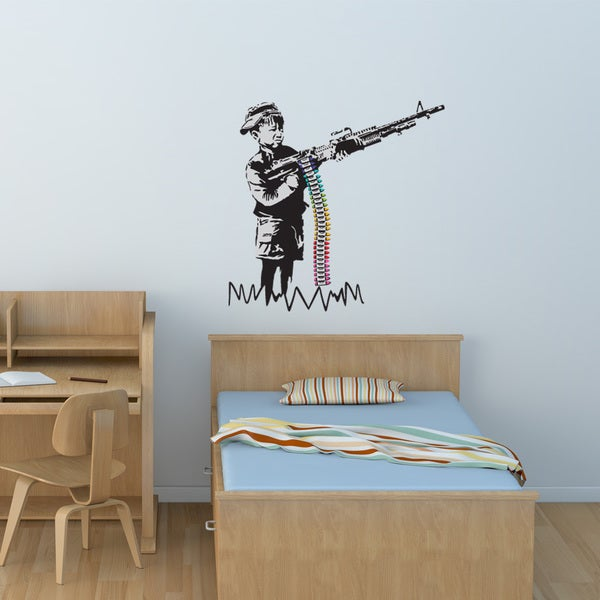 Banksy 'Stencil Munitions' wall decal, sticker, mural vinyl art home decor