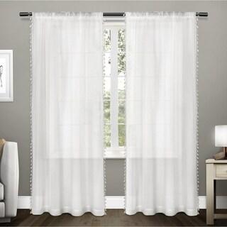 ATI Home Tassels Applique Sheer Rod Pocket Top Curtain Panel Pair