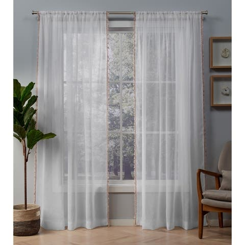 ATI Home Tassels Applique Sheer Rod Pocket Top Curtain Panel Pair