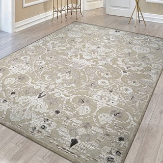 Power-loomed Couristan Cire Aurora Regal Mushroom/Antique Cream Polypropylene Chenille Yarn Rug (2'1 x 3'7)