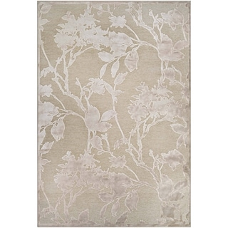 Couristan Cire Blossom/Mushroom Antique Cream, Viscose and Courtron Polypropylene Chenille Yarn Power-loomed Rug (3'11 x 5'5)