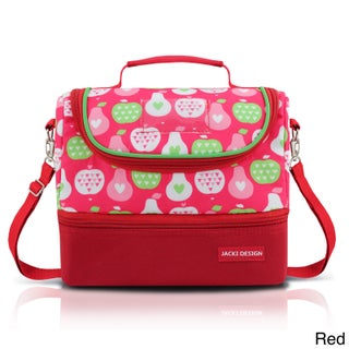 Jacki Design Kids Polyester Large 2-compartment Insulated Lunch Bag (Option: Red)