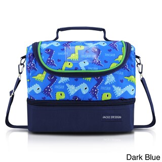 Jacki Design Kids Polyester Large 2-compartment Insulated Lunch Bag (Option: Navy)