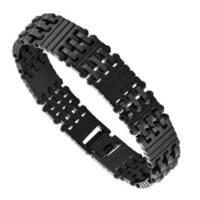 Mens Stainless Steel Black-Plated Link Bracelet