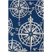 Couristan Outdoor Escape Mariner/ Navy-Ivory Hand-hooked Rug - 8' x 11'
