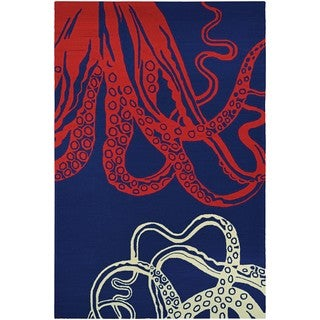 Hand-Hooked Couristan Outdoor Escape Under the Sea/Ocean Blue Polypropylene Rug (2' x 4')