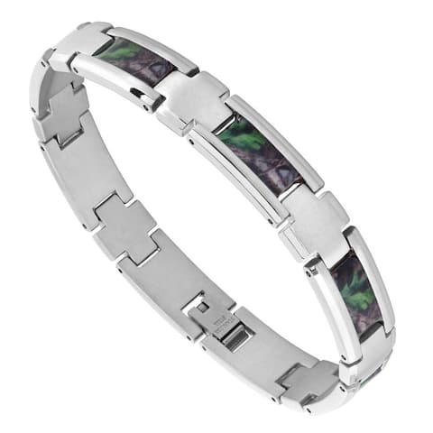 Mens Stainless Steel Camo Bracelet