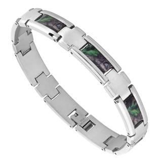 Mens Stainless Steel Camo Bracelet