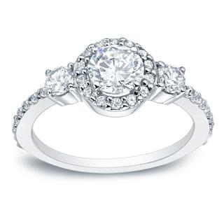 Auriya Platinum 3/4ct TDW Halo Diamond Engagement Ring