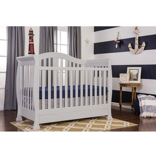 Dream On Me Addison Grey Wood 5 In 1 Convertible Crib With Storage