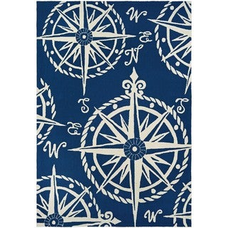 Hand-Hooked Couristan Outdoor Escape Mariner/Navy-Ivory Polypropylene Rug (3'6 x 5'6)