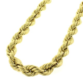 10k Yellow Gold 8mm Hollow Rope Chain Necklace