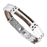 Men's Stainless Steel and Brown Wire Bracelet