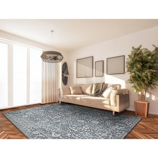 Couristan Marina Lillian/Slate Blue Oyster, Polypropylene Power-loomed Rug (2' x 3'11)