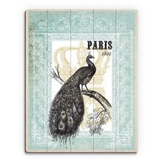 'Peacock in Mint Paris' Birchwood Wall Art