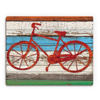 Rustic Bicycle Multicolored Wood Wall Art