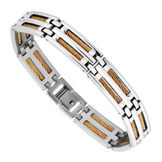 Men's Stainless Steel and Yellow Wire Bracelet