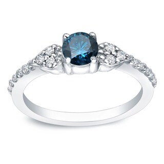 Auriya Platinum 2/3ct TDW Round Blue and White Diamond Engagement Ring (Blue)
