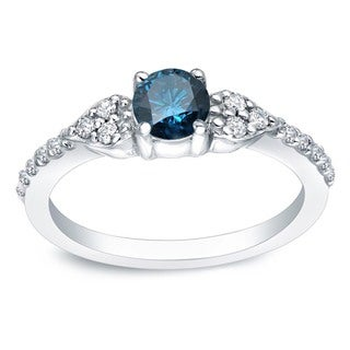 Auriya Platinum 2/3ct TDW Round Blue and White Diamond Engagement Ring