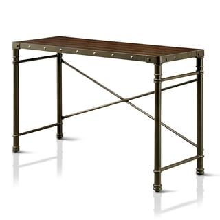 Furniture of America Stevens Industrial Steampunk X-Braced Writing Desk