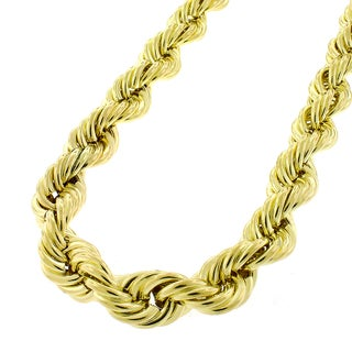 10k Yellow Gold 9mm Hollow Rope Chain Necklace