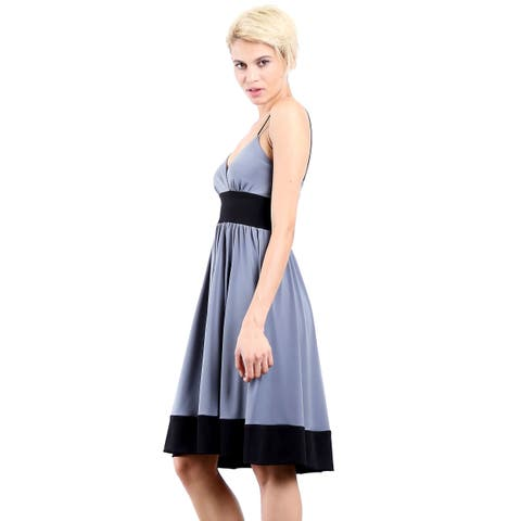 Evanese Women's Jersey Fashion Color-blocking Casual Cocktail Party Dress