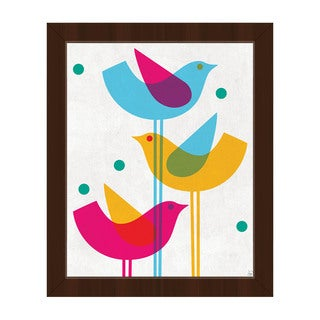 'Retro Stacked Birds' Framed Canvas Wall Art