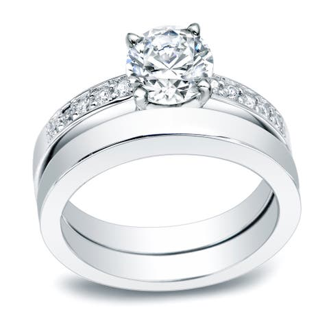 Auriya Platinum 1/2ctw Classic Round Diamond Engagement Ring Set
