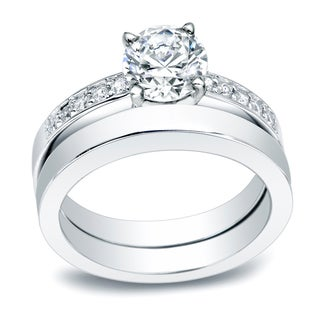 Auriya Platinum 1/2ct TDW Round Diamond Bridal Ring Set (H-I, SI2-SI3)