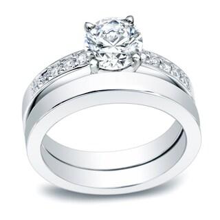 Auriya Platinum 1/2ct TDW Round Certified Diamond Solitaire Engagement Ring Set